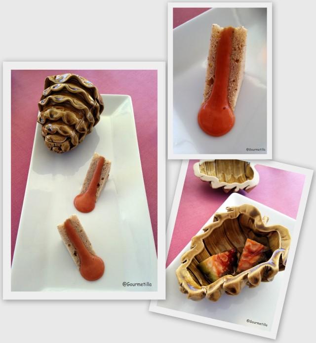 Pan de piñones con paté de lechazo y coral de piñas verdes 2