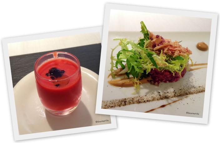 Gazpacho y Tartar cecina con foie