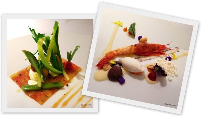 Micro verduras y Gamba roja