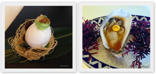 Huevo de codorniz y Ostra