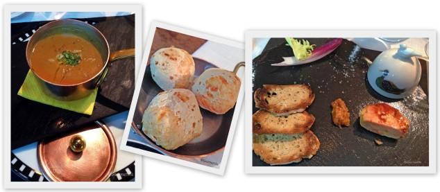Lentejas, pan y foie