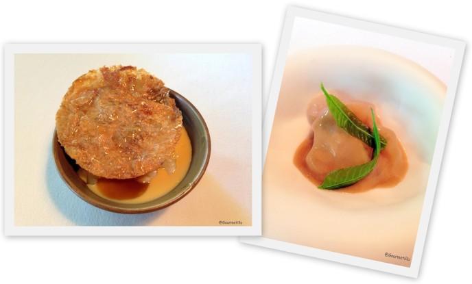 Crema catalana y Botones gelatinosos bacalao